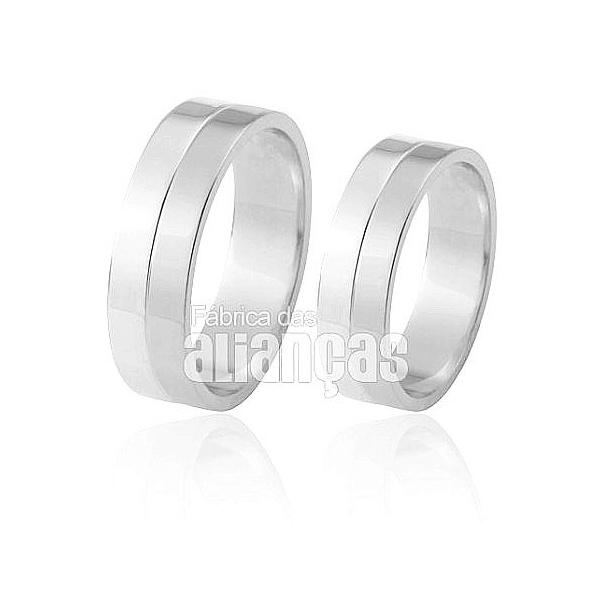 Alianças De Noivado e Casamento Em Ouro Branco 18k 0,750 Fa-429-b