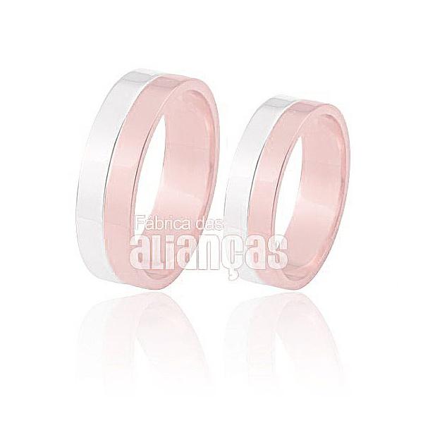 Alianças De Noivado e Casamento Em Ouro Rose e Branco 18k 0,750 Fa-429-r