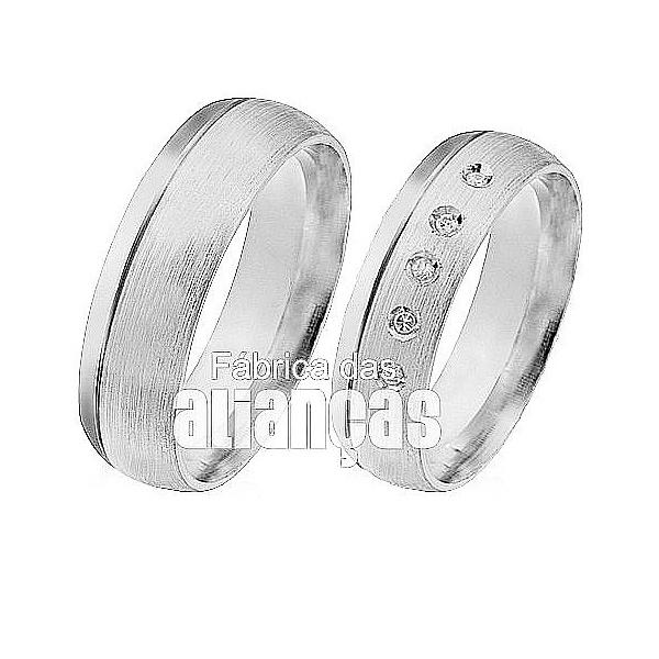 Aliança De Noivado e Casamento Em Ouro Branco 18k 0,750 Fa-433-b