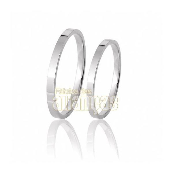 Alianças De Noivado e Casamento Em Ouro Branco 18k 0,750 Fa-45-b