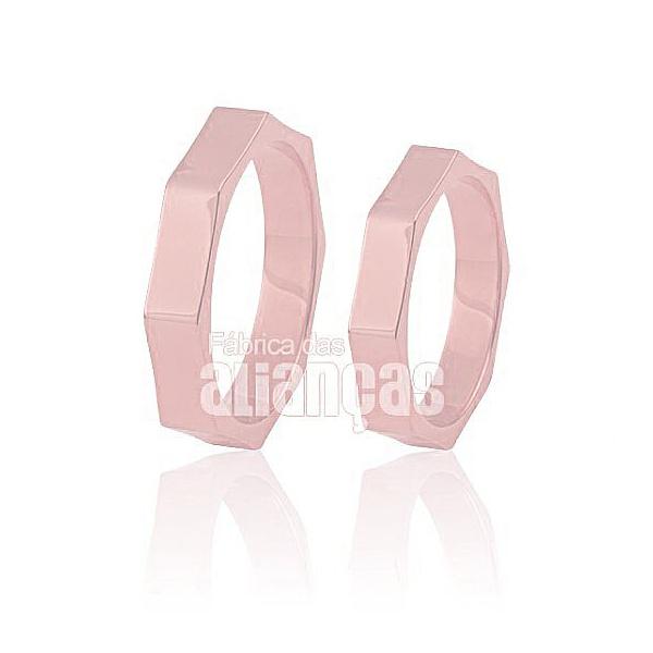 Aliança De Noivado e Casamento Em Ouro Rose 18k 0,750 Fa-456-r