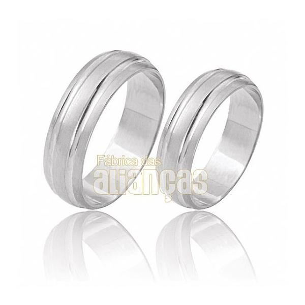 Aliança De Noivado e Casamento Em Ouro Branco 18k 0,750 Fa-481-b