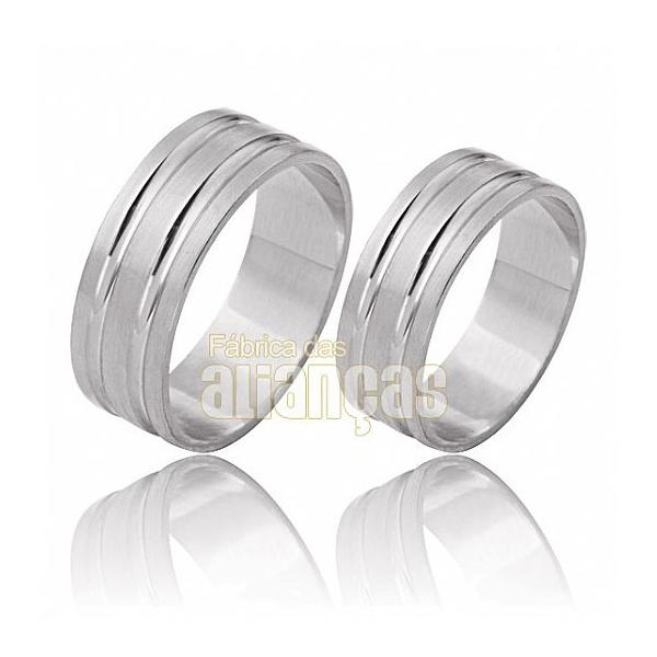 Aliança De Noivado e Casamento Em Ouro Branco 18k 0,750 Fa-486-b