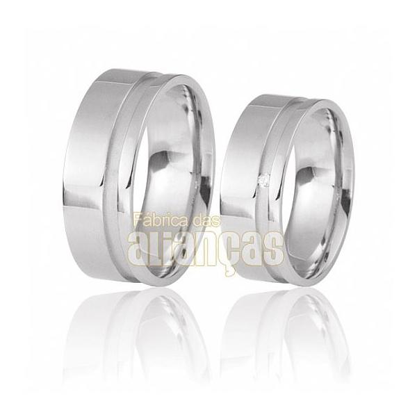 Alianças De Noivado e Casamento Em Ouro Branco 18k 0,750 Fa-490-b - FA-490-B - Fábrica das Alianças