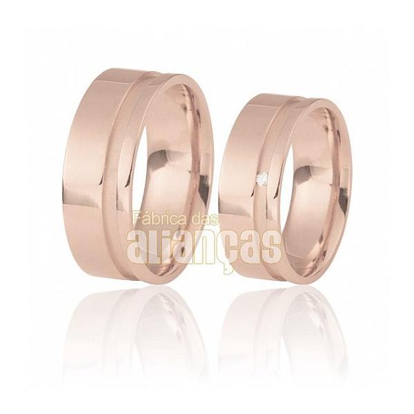 Aliança De Noivado e Casamento Em Ouro Rose 18k 0,750 Fa-490-r - FA-490-R - Fábrica das Alianças