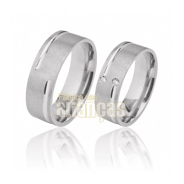 Aliança De Noivado e Casamento Em Ouro Branco 18k 0,750 Fa-491-b
