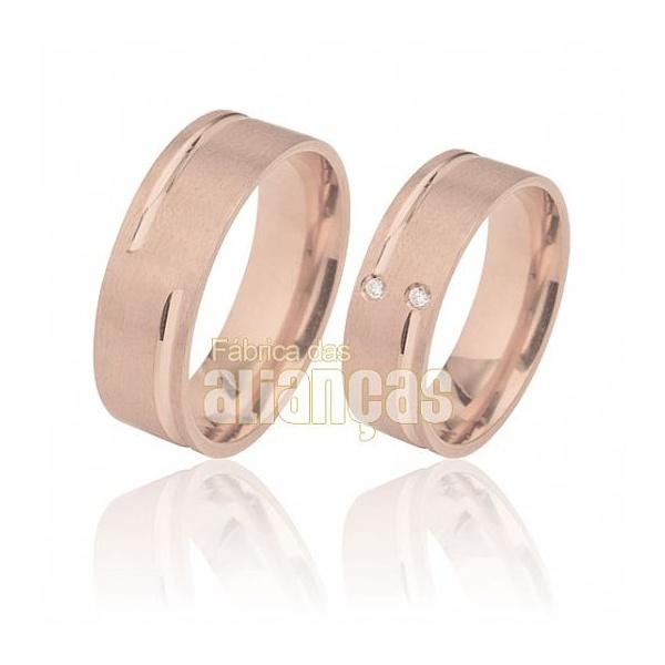 Aliança De Noivado e Casamento Em Ouro Rose 18k 0,750 Fa-491-r - FA-491-R - Fábrica das Alianças