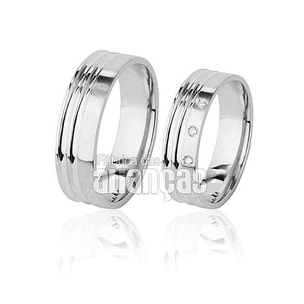 Aliança De Noivado e Casamento Em Ouro Branco 18k 0,750 Fa-495-b