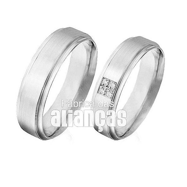 Aliança De Noivado e Casamento Em Ouro Branco 18k 0,750 Fa-496-b