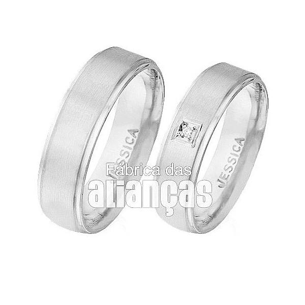 Aliança De Noivado e Casamento Em Ouro Branco 18k 0,750 Fa-497-b - FA-497-B - Fábrica das Alianças