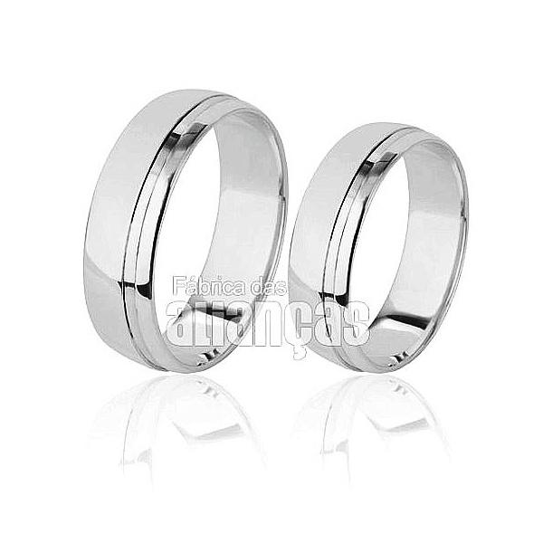 Aliança De Noivado e Casamento Em Ouro Branco 18k 0,750 Fa-505-b