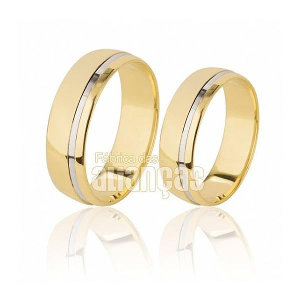 Alianças De Noivado e Casamento Em Ouro Amarelo 18k 0,750 Fa-505