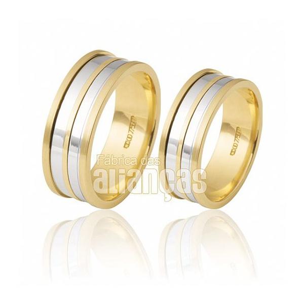 Alianças De Noivado e Casamento Em Ouro Amarelo 18k 0,750 Fa-513