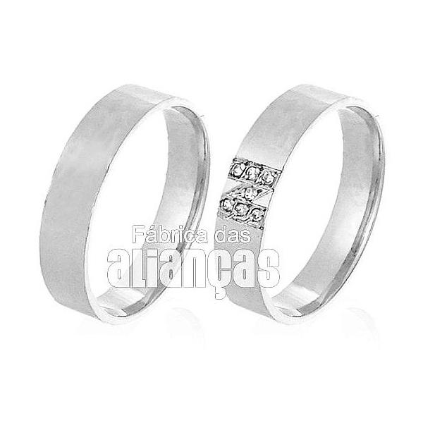 Alianças De Noivado e Casamento Em Ouro Branco 18k 0,750 Fa-523-b