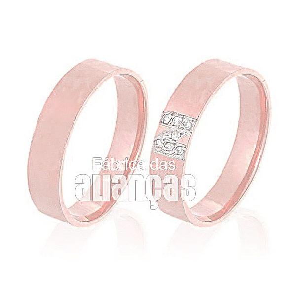 Alianças De Noivado e Casamento Em Ouro Rose 18k 0,750 Fa-523-r