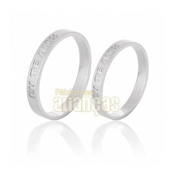 Alianças De Noivado e Casamento Em Ouro Branco 18k 0,750 Fa-527-b