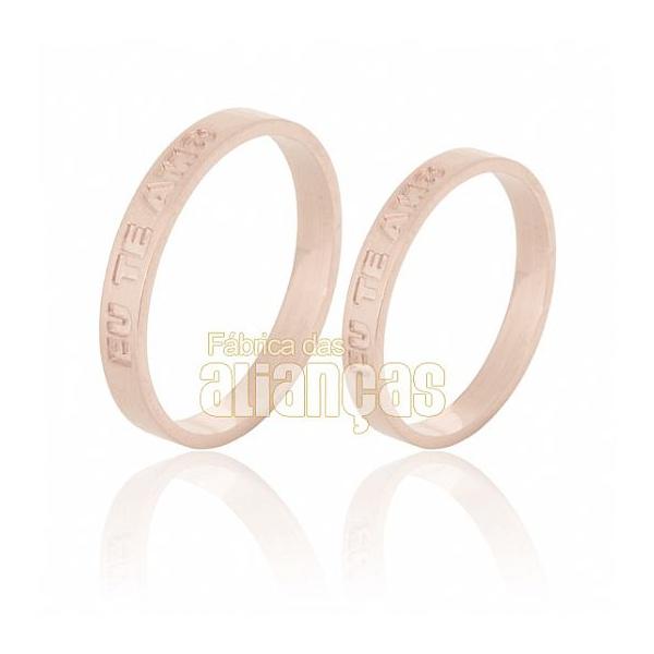 Alianças De Noivado e Casamento Em Ouro Rose 18k 0,750 Fa-527-r