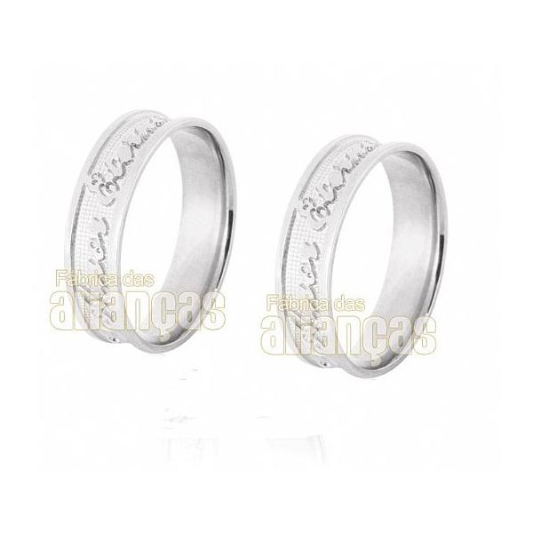 Alianças De Noivado e Casamento Em Ouro Branco 18k 0,750 Fa-530-b