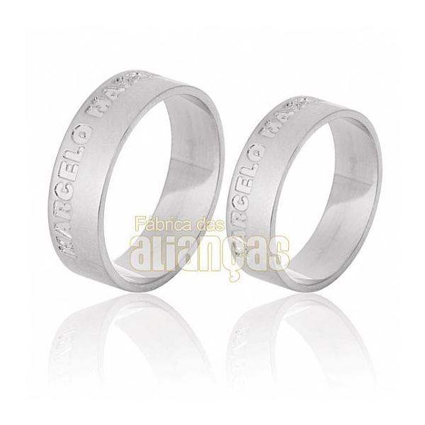 Alianças De Noivado e Casamento Em Ouro Branco 18k 0,750 Fa-541-b