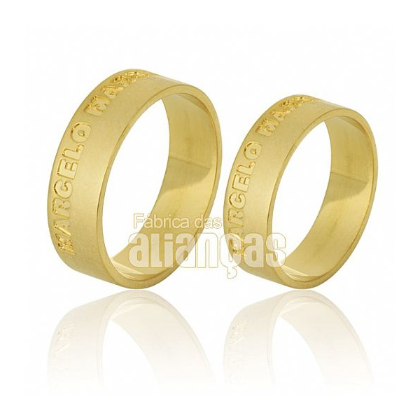 Alianças De Noivado e Casamento Em Ouro Amarelo 18k 0,750 Fa-541