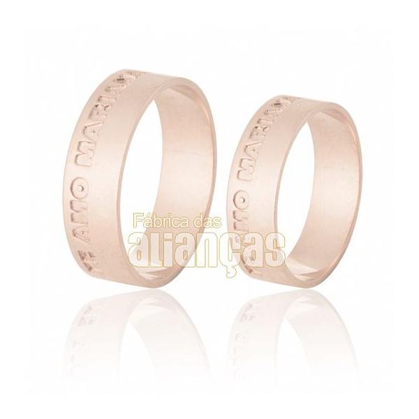 Alianças De Noivado e Casamento Em Ouro Rose 18k 0,750 Fa-542-r