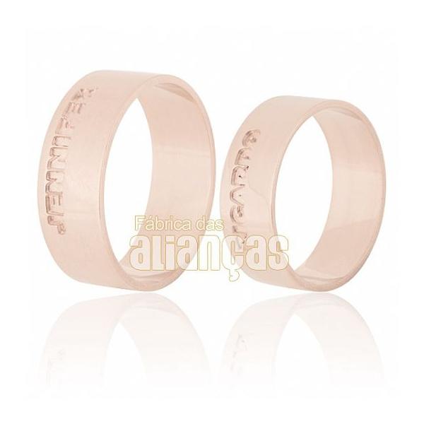 Alianças De Noivado e Casamento Em Ouro Rose 18k 0,750 Fa-543-r