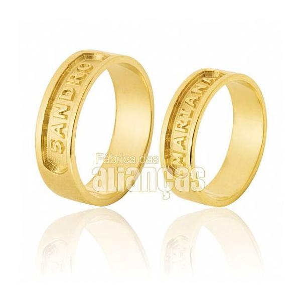 Alianças De Noivado e Casamento Em Ouro Amarelo 18k 0,750 Fa-567