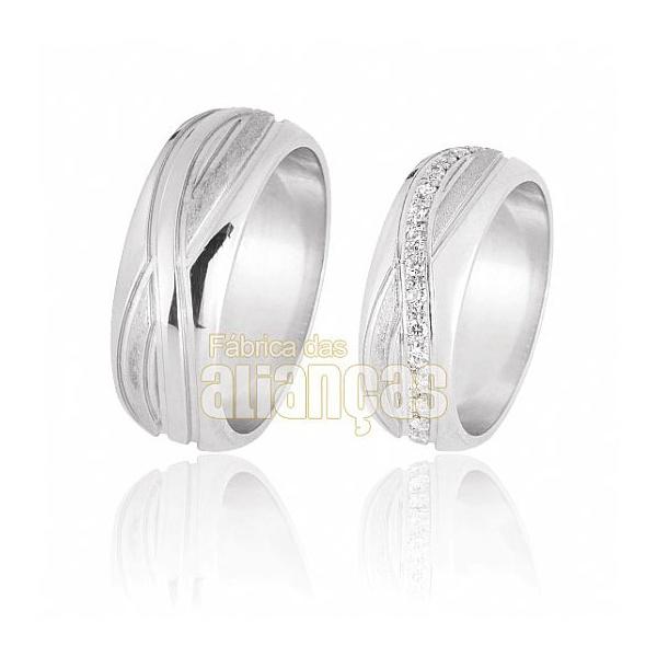 Alianças De Noivado e Casamento Em Ouro Branco 18k 0,750 Fa-572-b