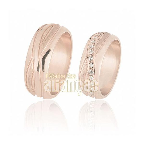 Alianças De Noivado e Casamento Em Ouro Rose 18k 0,750 Fa-572-r - FA-572-R - Fábrica das Alianças