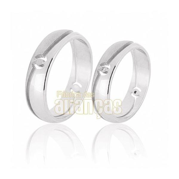 Alianças De Noivado e Casamento Em Ouro Branco 18k 0,750 Fa-575-b