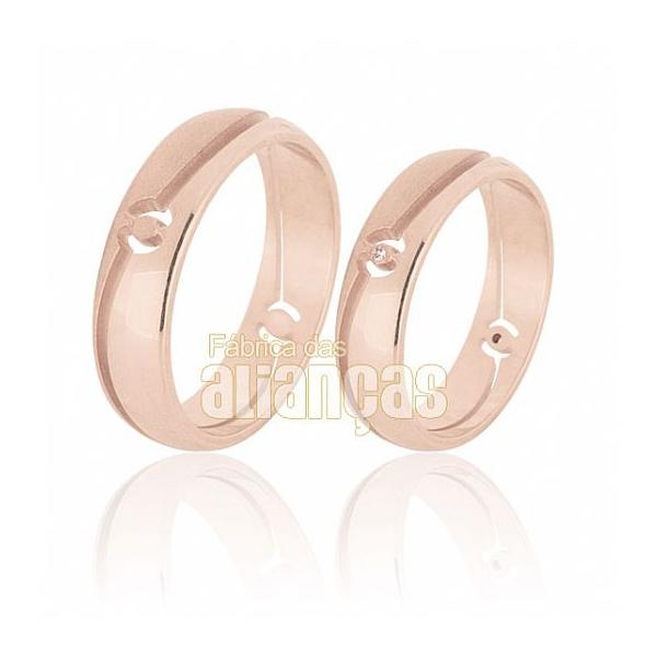 Alianças De Noivado e Casamento Em Ouro Rose 18k 0,750 Fa-575-r