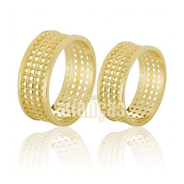 Alianças De Noivado e Casamento Em Ouro Amarelo 18k 0,750 Fa-578