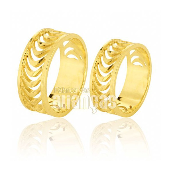 Alianças De Noivado e Casamento Em Ouro Amarelo 18k 0,750 Fa-583