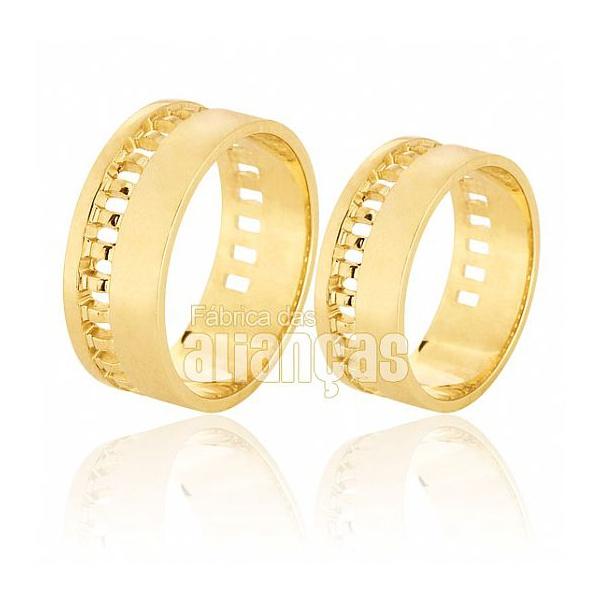 Alianças De Noivado e Casamento Em Ouro Amarelo 18k 0,750 Fa-584
