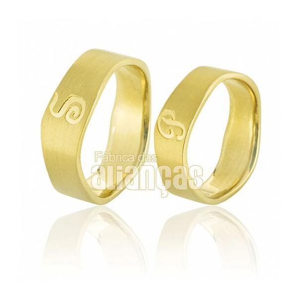 Alianças De Noivado e Casamento Em Ouro Amarelo 18k 0,750 Fa-585