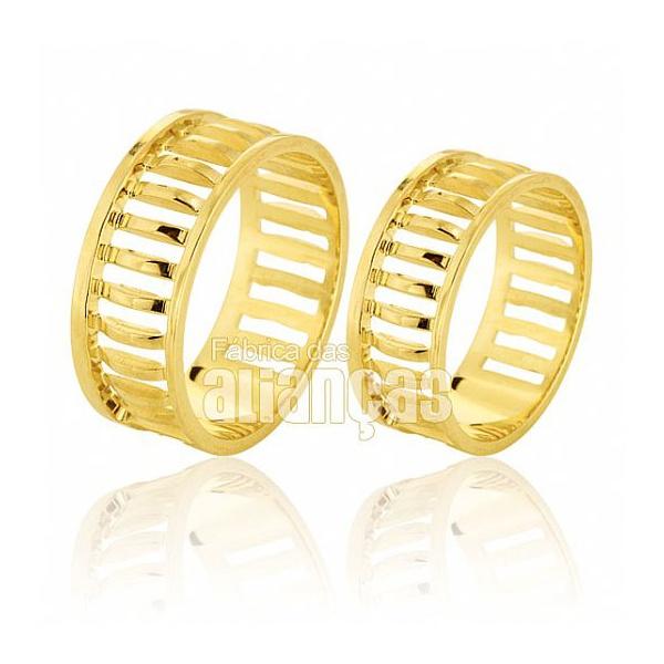 Alianças De Noivado e Casamento Em Ouro Amarelo 18k 0,750 Fa-587