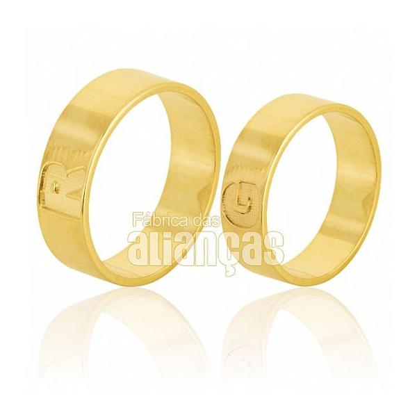 Alianças De Noivado e Casamento Em Ouro Amarelo 18k 0,750 Fa-589