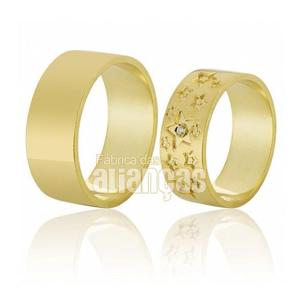 Alianças De Noivado e Casamento Em Ouro Amarelo 18k 0,750 Fa-591