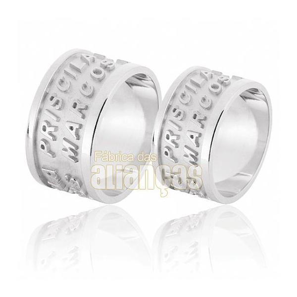 Alianças De Noivado e Casamento Em Ouro Branco 18k 0,750 Fa-596-b