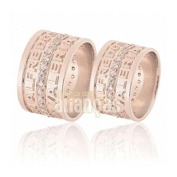 Alianças De Noivado e Casamento Em Ouro Rose 18k 0,750 Fa-597-r - FA-597-R - Fábrica das Alianças