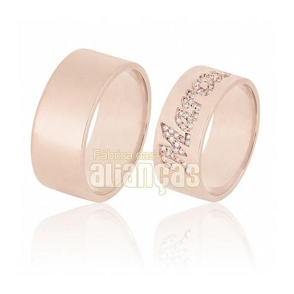 Alianças de Ouro Rosê com Nome Cravejado de Diamantes - FA-605-R - Fábrica das Alianças