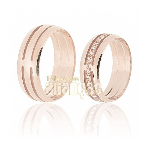 Aliança De Noivado e Casamento Em Ouro Rose 18k 0,750 Fa-608-r