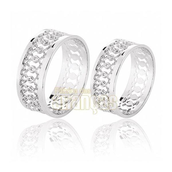 Aliança De Noivado e Casamento Em Ouro Branco 18k 0,750 Fa-610-b