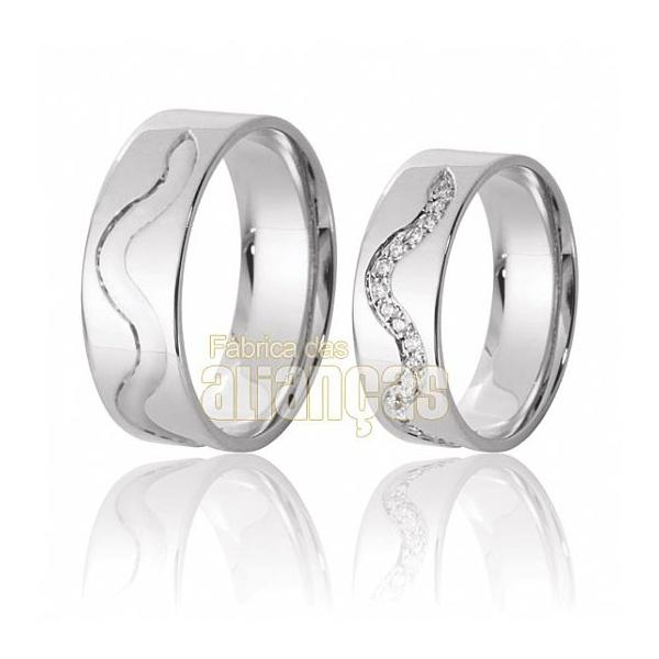 Aliança De Noivado e Casamento Em Ouro Branco 18k 0,750 Fa-612-b