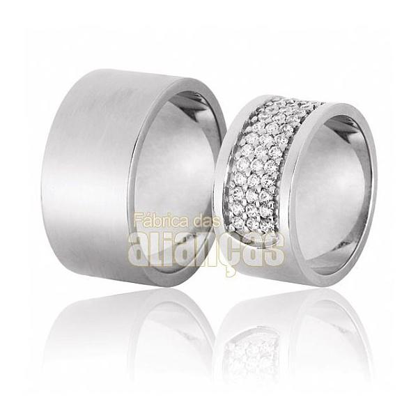 Aliança De Noivado e Casamento Em Ouro Branco 18k 0,750 Fa-621-b