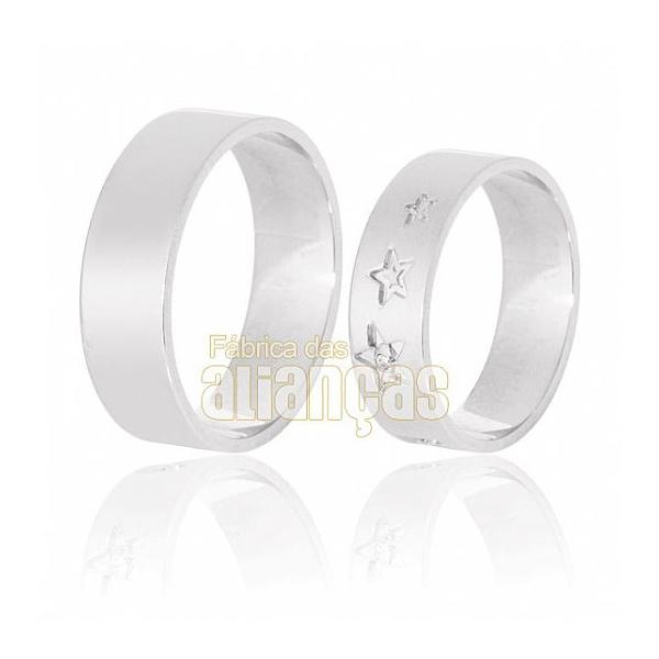 Aliança De Noivado e Casamento Em Ouro Branco 18k 0,750 Fa-626-b