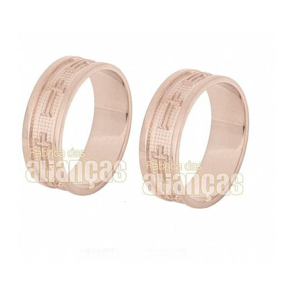 Aliança De Noivado e Casamento Em Ouro Rose 18k 0,750 Fa-631-r