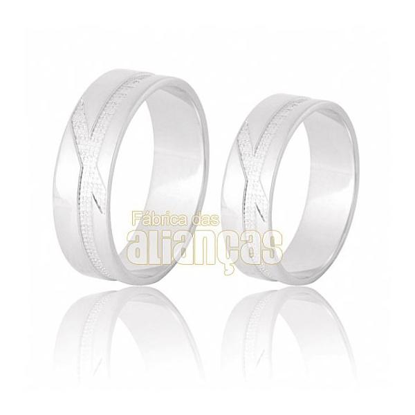 Aliança De Noivado e Casamento Em Ouro Branco 18k 0,750 Fa-633-b