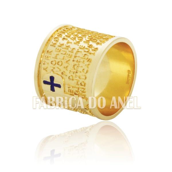 Aliança Com Oração Pai Nosso Em Latim Em Ouro Amarelo 10k