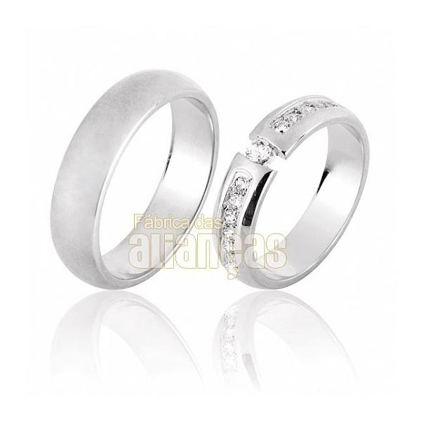 Aliança De Noivado e Casamento Em Ouro Branco 18k 0,750 Fa-640-b